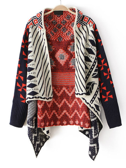 tribal jacket orange cardigan black