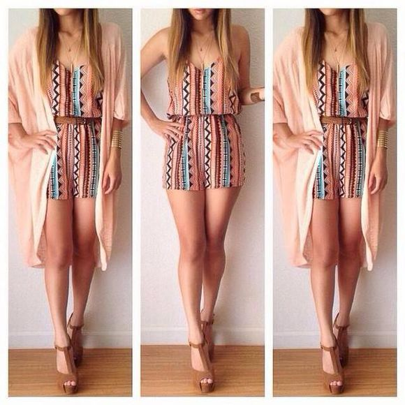 pattern romper cardigan aztec neutral beige dress summer dress summer styles style wedges brown wedges jumpsuit kimono jewels