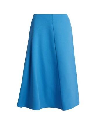 skirt high wool blue