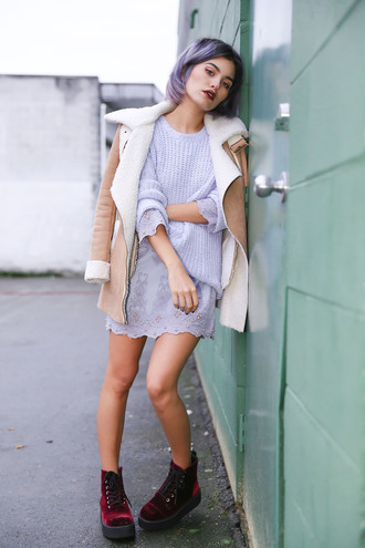 xander vintage blogger dress lace dress grey dress purple hair knitted sweater grunge shoes soft grunge shearling jacket