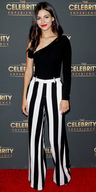 pants top black and white wide-leg pants one shoulder victoria justice blouse bodysuit