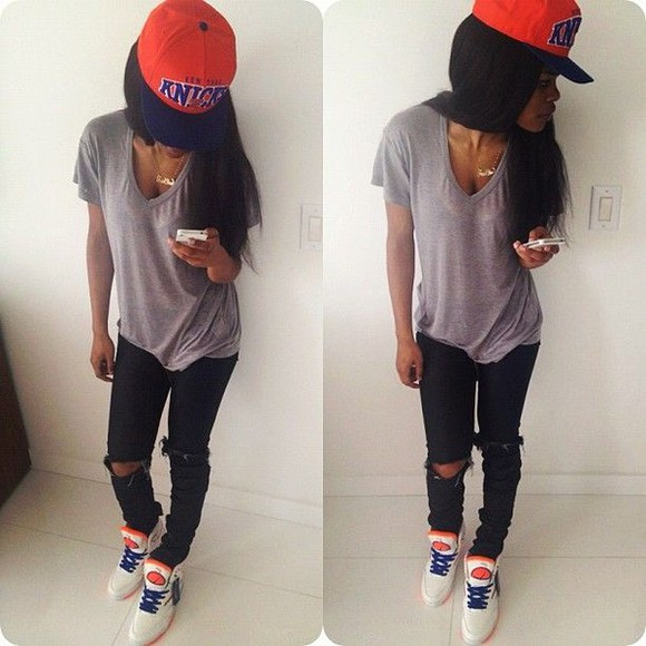 v-neck pants hat jeans shoes snapback necklace t-shirt