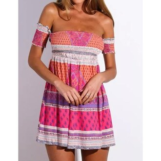 dress off the shoulder summer pink cute girly short dress spring rose wholesale-feb
