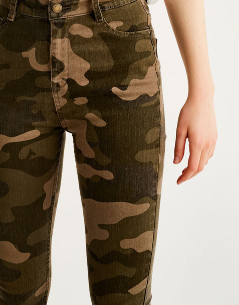 jeans pull and bear print camo pants camouflage skinny jeans