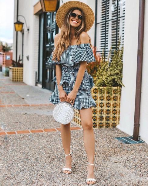 dress gingham gingham mini dress ruffle dress ruffle hat sun hat bag round bag