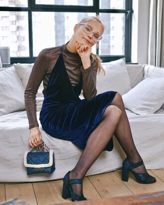 dress gold top tumblr velvet velvet dress midi dress royal blue dress blue dress slip dress top turtleneck sandals glitter shoes sandal heels high heel sandals bag blue bag tights glasses