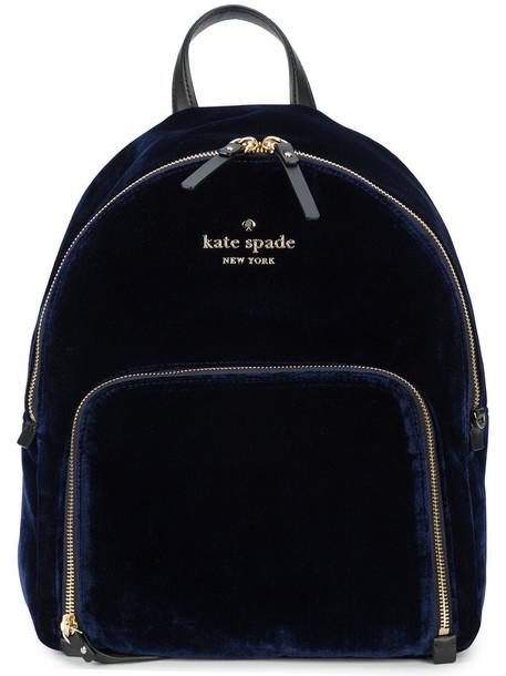 Kate Spade women backpack cotton blue silk bag