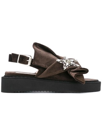 women sandals leather velvet brown shoes