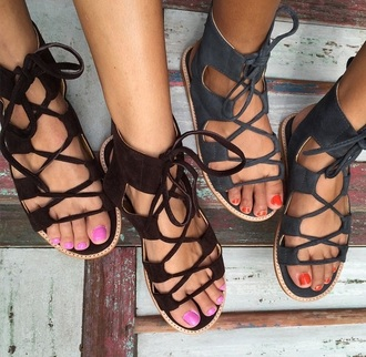 shoes strappy sandals flats lace up lace-up shoes