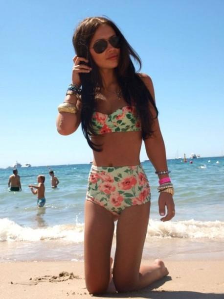 floral floral swimwear high waisted bikini high waisted swimwear cute high waisted bikini brallete swimsuit high waisted floral pink orange