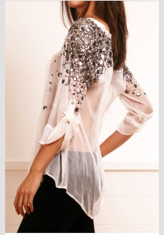 blouse white blouse silver sparkles rhinestones fancy shirt white jeweled sparkle cute loose sheer sequins t-shirt tank top embellished diamonds glitter classy sexy see through pretty glitter top sequin shirt floral flowy