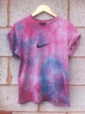 tie dye,tie dye shirt,nike,nike t-shirt,t-shirt,purple,shirt