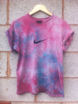 tie dye tie dye shirt nike nike t-shirt t-shirt purple shirt top watercolor pink blue women t shirts nike shirts tye die nike top purple blue nike shirt