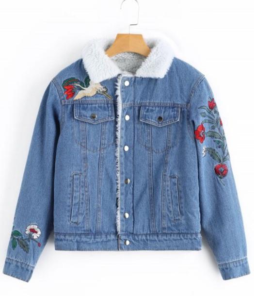 jacket embroidered girly blue denim jacket denim fur fur jacket