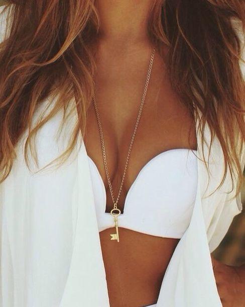 swimwear white swimwear bikini bikini top underwear summer white tank top white dress white shoes white pants jewelry gold jewels blouse white swimwear