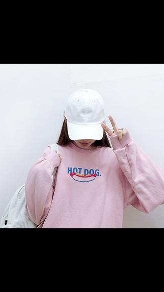 sweater pink food style tumblr tumblr outfit urban pastel pink hot dog