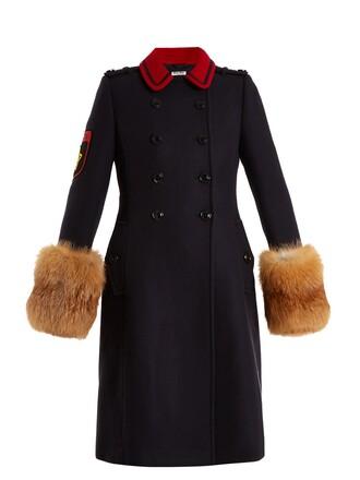 coat wool coat fur wool navy