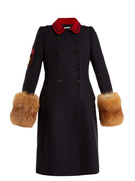 Miu Miu coat wool coat fur wool navy