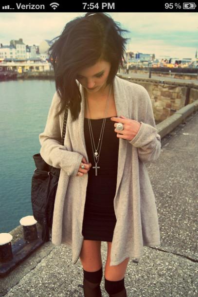 14e43aea29d dress black dress combat boots pullover shrug cross leg warmers bag jacket  jewels sweater grey long