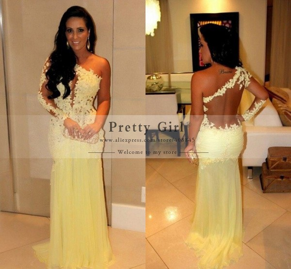 Aliexpress.com : Buy Elegant Yellow Chiffon Long Mermaid Evening ...