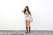 the material girl,blogger,romper,jewels,shoes,bag,palm tree print