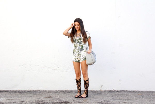 the material girl blogger romper jewels shoes bag palm tree print