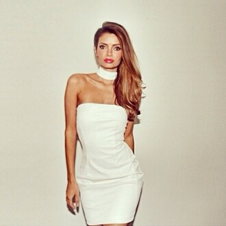 dress white dress choker necklace white bodycon