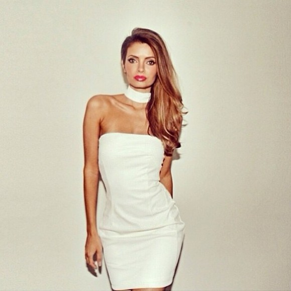 dress bodycon white white dress choker white bodycon dress