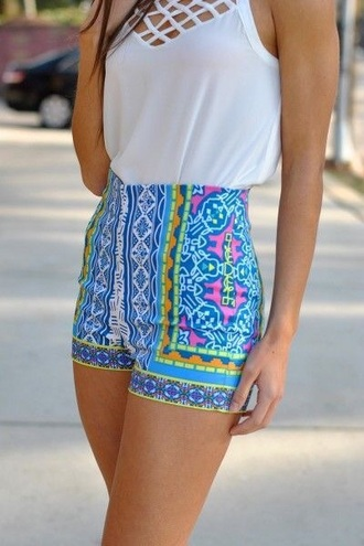 shorts bright high waisted shorts bright neon colorful high waisted shorts colorful shorts printed shorts bright shorts