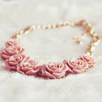 jewels pink roses gold chain