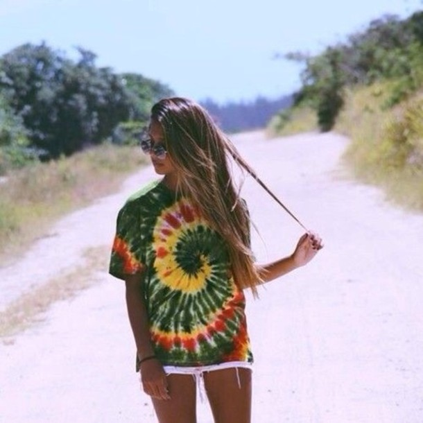 T-shirt rasta cute tie dye hippie shirt - Wheretoget
