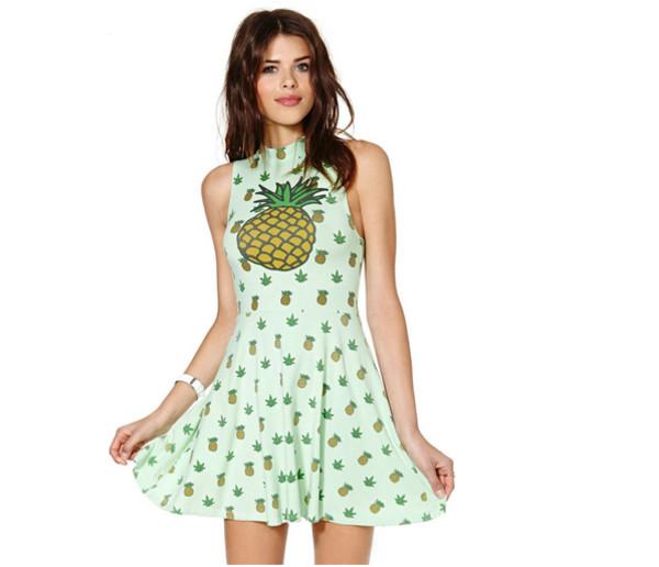 pineapple print high necked sleeveless big swing vest polka dot dress