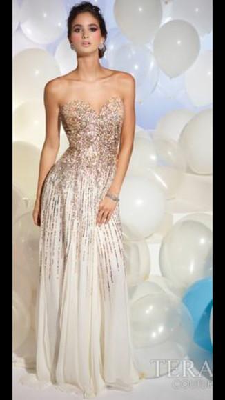 sequin dress beige dress mermaid prom dresses