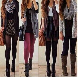 jacket scarf tights all cute outfits fall sweater skirt coat cardigan tumblr outfit tumblr hipster