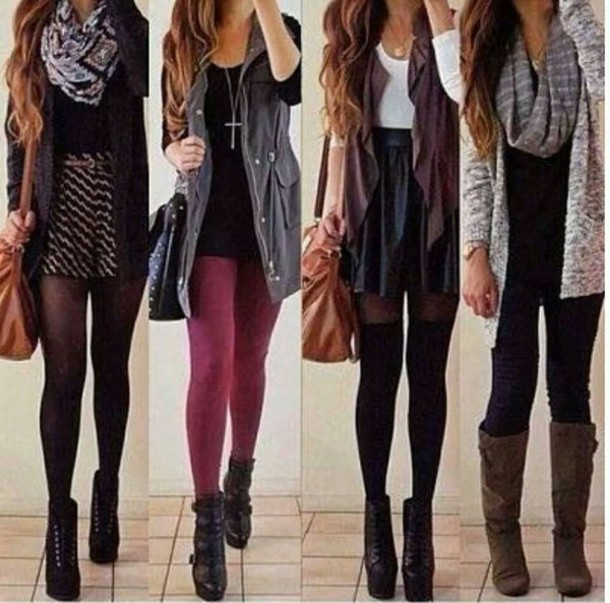 Jacket scarf tights cute outfits fall sweater skirt coat cardigan tumblr outfit tumblr ...