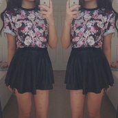 t-shirt,top,floral,skater skirt,black,pink,skirt,shirt,black skirt,leather skirt,floral top,blouse,dress,cute,purple,blue,floral cute black,skater,grunge,punk,hipster,flowers
