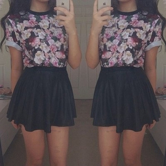 t-shirt top floral skater skirt black pink skirt shirt black skirt leather skirt floral top blouse dress cute purple blue floral cute black skater grunge punk hipster flowers