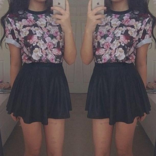 t-shirt top floral t-shirt skater skirt black pink skirt shirt black skirt skirt leather skirt floral top blouse dress cute purple blue floral cute black