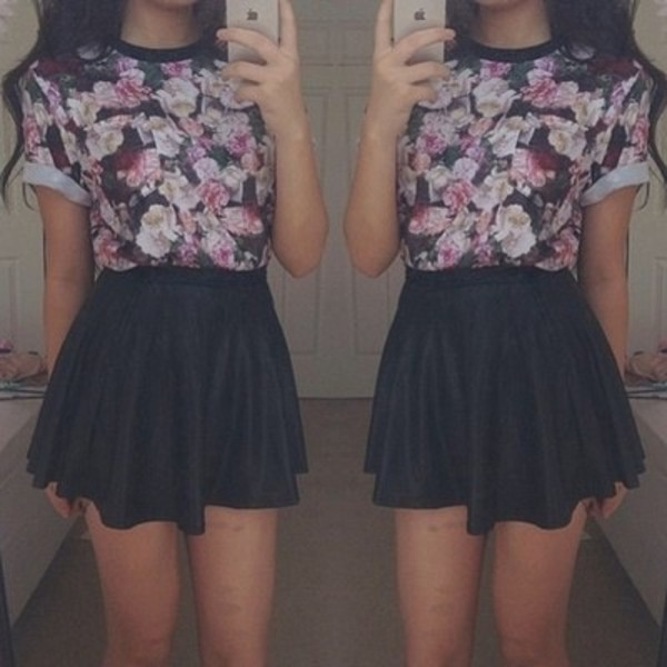 t-shirt top floral t-shirt skater skirt black pink skirt shirt black skirt skirt leather skirt floral top blouse dress cute purple blue floral cute black