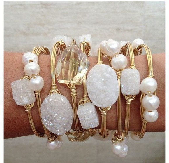 jewels bracelets gold white gemstones pearl stacked bracelets