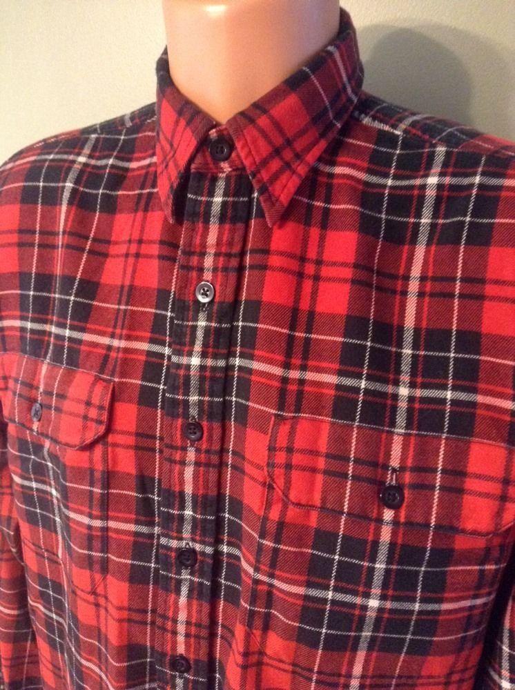 e785ddfe9 Polo Ralph Lauren Long Sleeve Button Flannel Shirt Sz Medium Red ...