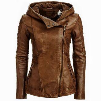 jacket leather jacket fall jacket brown jacket brown jacket with hood hooded leather jackets hooded jacket autumn jacket