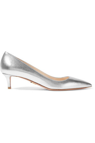metallic pumps silver leather shoes