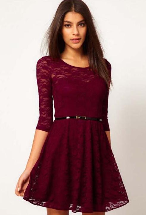 Aubergine lace dress
