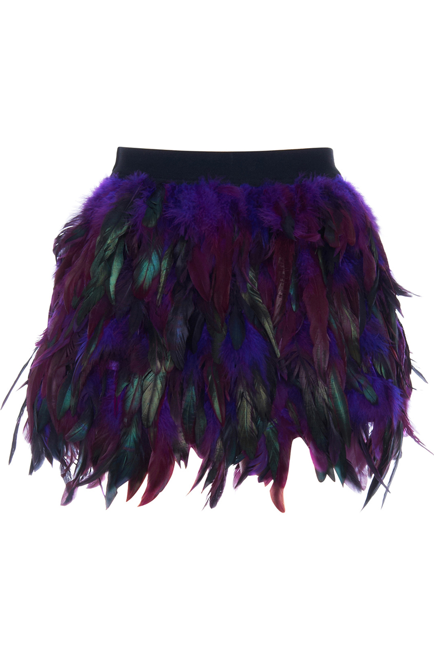 Purple faux feather skirt, the latest street fashion