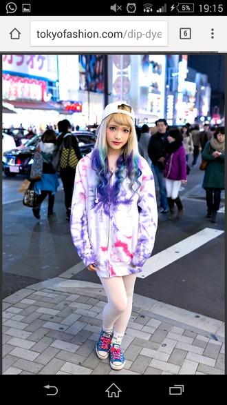 jacket tie dye hoodie pink pastel tie dye