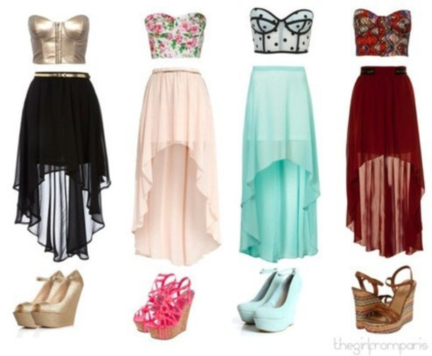 Black high low skirt outfits