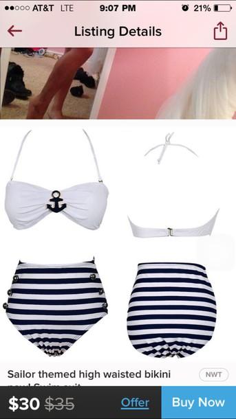 swimwear bikini high waisted bikini sailor