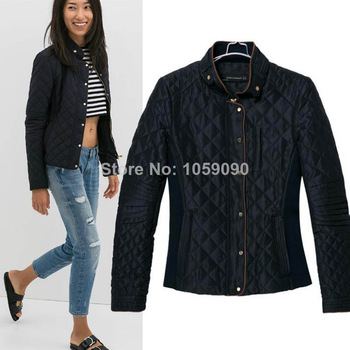 Aliexpress.com : Buy Fall 2014 ZA Women Quilted Stitching Collar long sleeved cotton single breasted Zipper Slim Short padded Parkas Jacket Coat from Reliable coat plaid suppliers on Vogue Official Online Shop