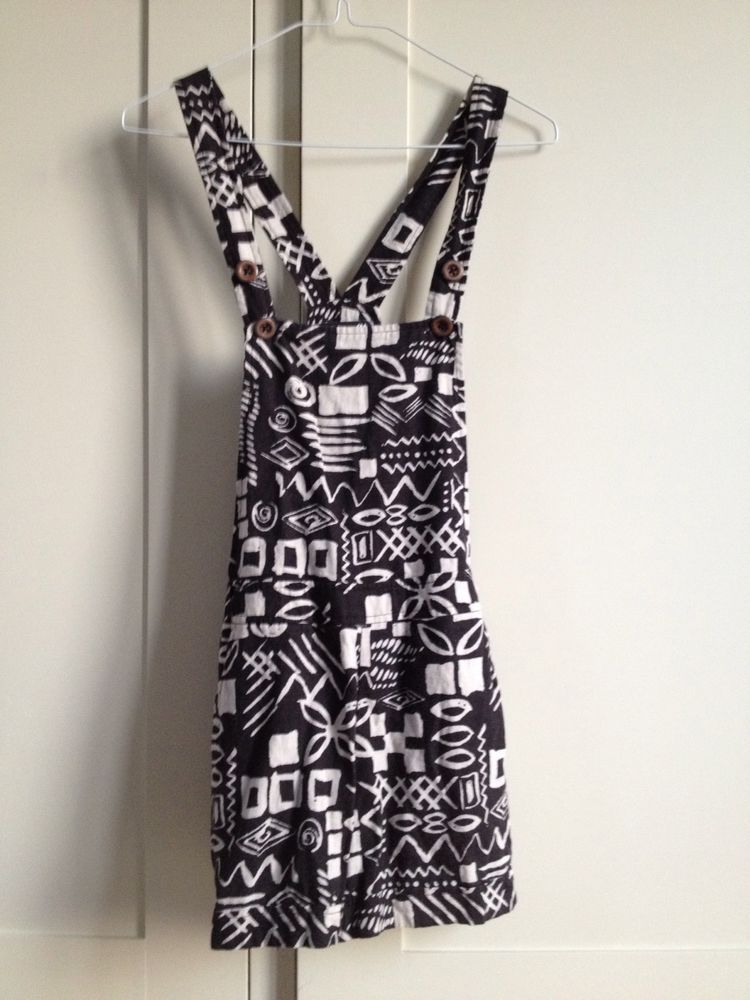 Gorgeous Aztec Style Navajo Black & White Dungarees Playsuit Size S | eBay